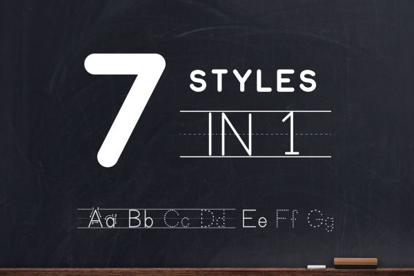 7 Styles of Teaching Print Font - Letters and Numbers Tracing Font for Teaching and Learning Handwriting