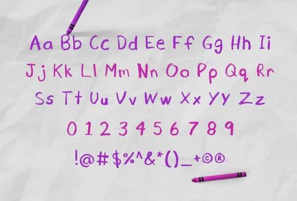 Cray Crayon Font Alphabet