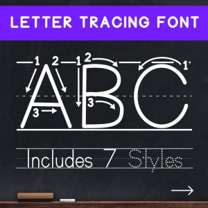 Teaching Print Font - Dotted Letters and Numbers Tracing Font for Teaching and Learning Handwriting