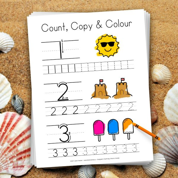 Count Copy and Color - Summer Themed Number Tracing Printable for Learning 1 to 10