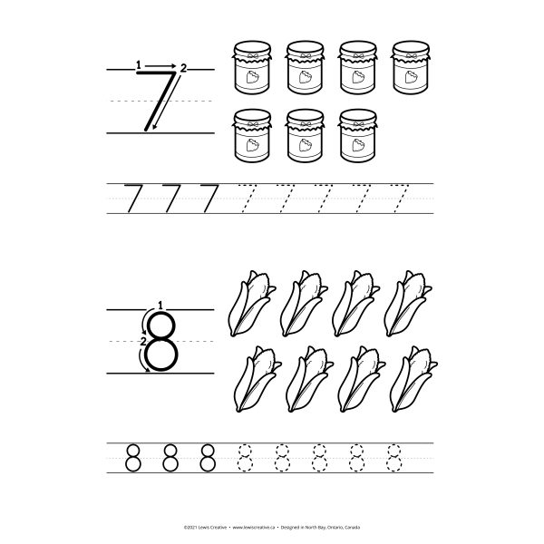 Count Copy and Color - Fall Themed Number Tracing Printable for Learning 1 to 10
